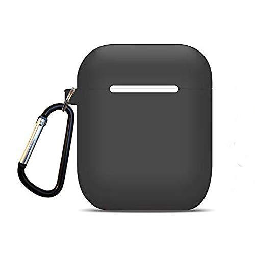 Oumino AirPods ケース カバー Apple エアーポッズ ケース シリコン ケース 対応 バイカラー可能 ストラップ 付き (グレー)