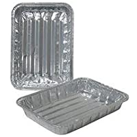 Set of 36 - Small Toaster Oven Disposable Reusable Aluminium Healthy Cooking Broiler Pans with Raised Ridges, 21cm x 17cm x 1 0.8cm