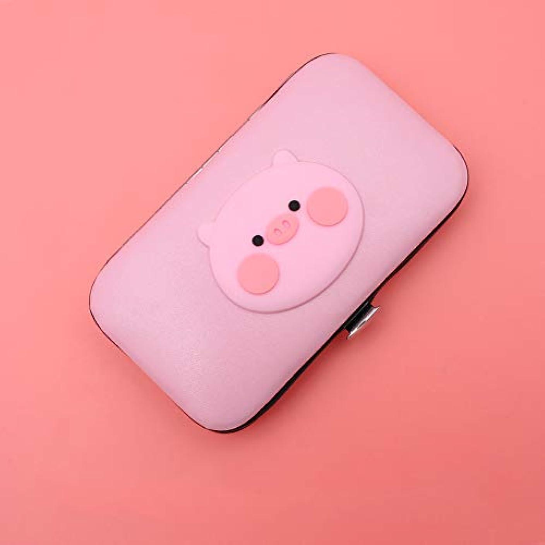 間接的強制的乳製品ネイルクリッパー7点セット、ネイルビューティーツールセット、女の子漫画ピンクの箱入りのためのマニキュアキット(貯金箱)