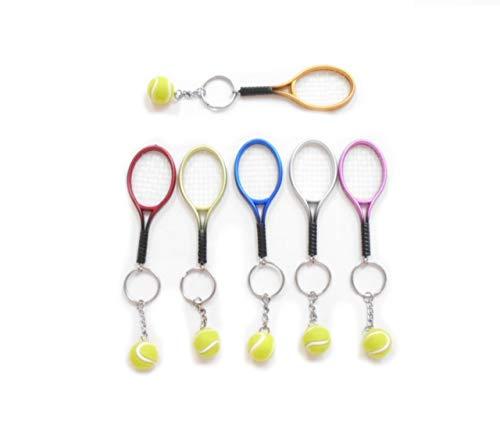 Granados(グラナードス) メタリック テニスラケット & ボール ペンダント キーリング キ...