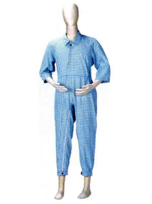 急降下わかりやすい純粋にケープ タッチホック介護寝巻 フルオープンタイプ ブルー/イエロー L
