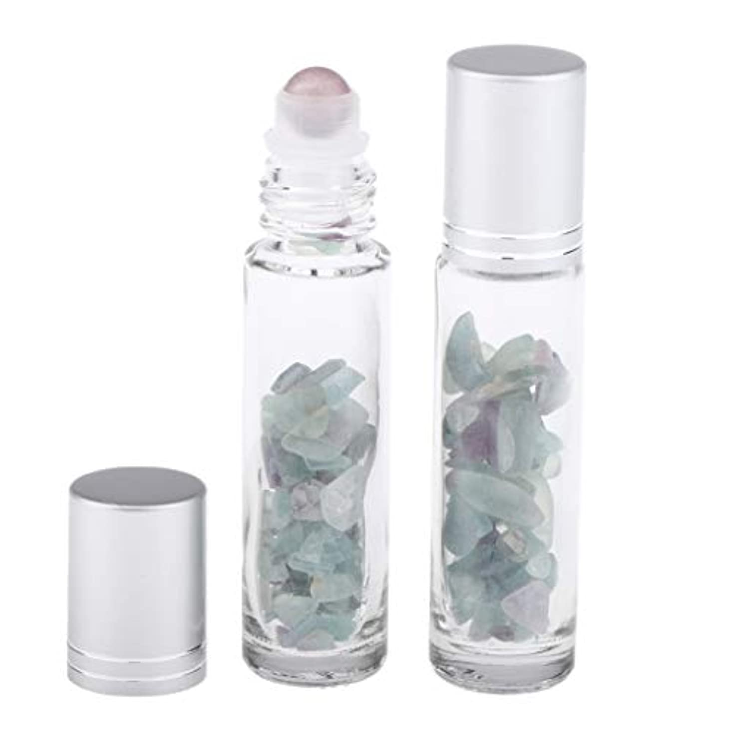 ヨーグルト解読する今晩10ml ガラスボトル 香水ボトル 精油瓶 アトマイザー 詰替え ロールオンボトル 天然石 2個 - 崔翡翠石