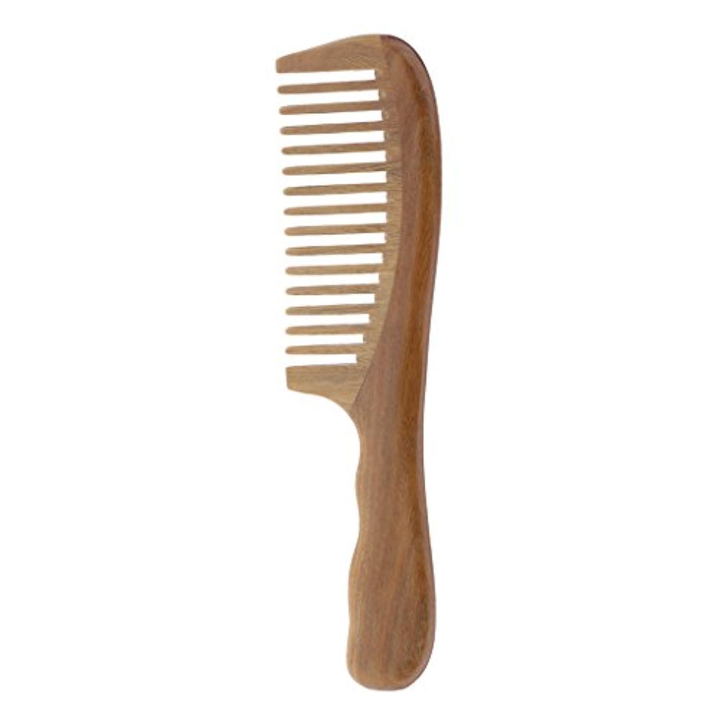 会議タイプライター予測くし コーム 木製 もつれ解く ウッドコーム 波状ハンドル 頭皮マッサージ 2タイプ選べる - 広い歯