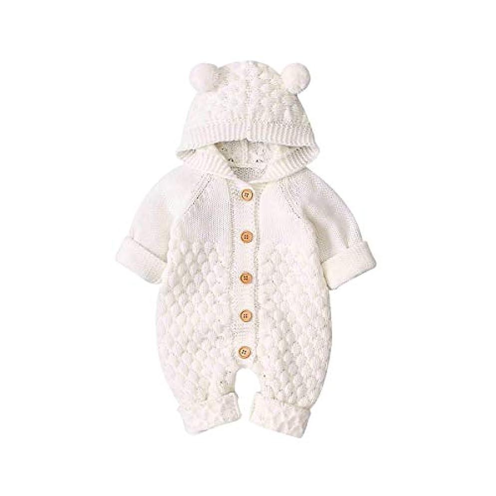 引退した安全でない送信する生まれたばかりの赤ちゃんの女の子のフード付きセーター、女の子の長袖ニットカーディガンクマ耳暖かいセータージャンプスーツスーツ