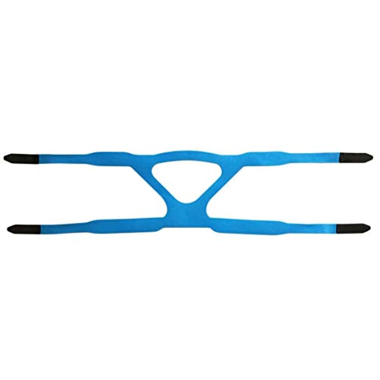 貫通工業用ストライプユニバーサルヘッドギアコンフォートジェルフルマスク安全な環境での取り替えCPAPヘッドバンドなしPHILPSに適した - ブルー&グレー