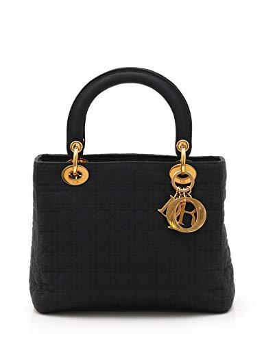 (クリスチャンディオール) Christian Dior レディディオール カナージュ ハンドバッグ ナイロン 黒 ゴールド金具 中古