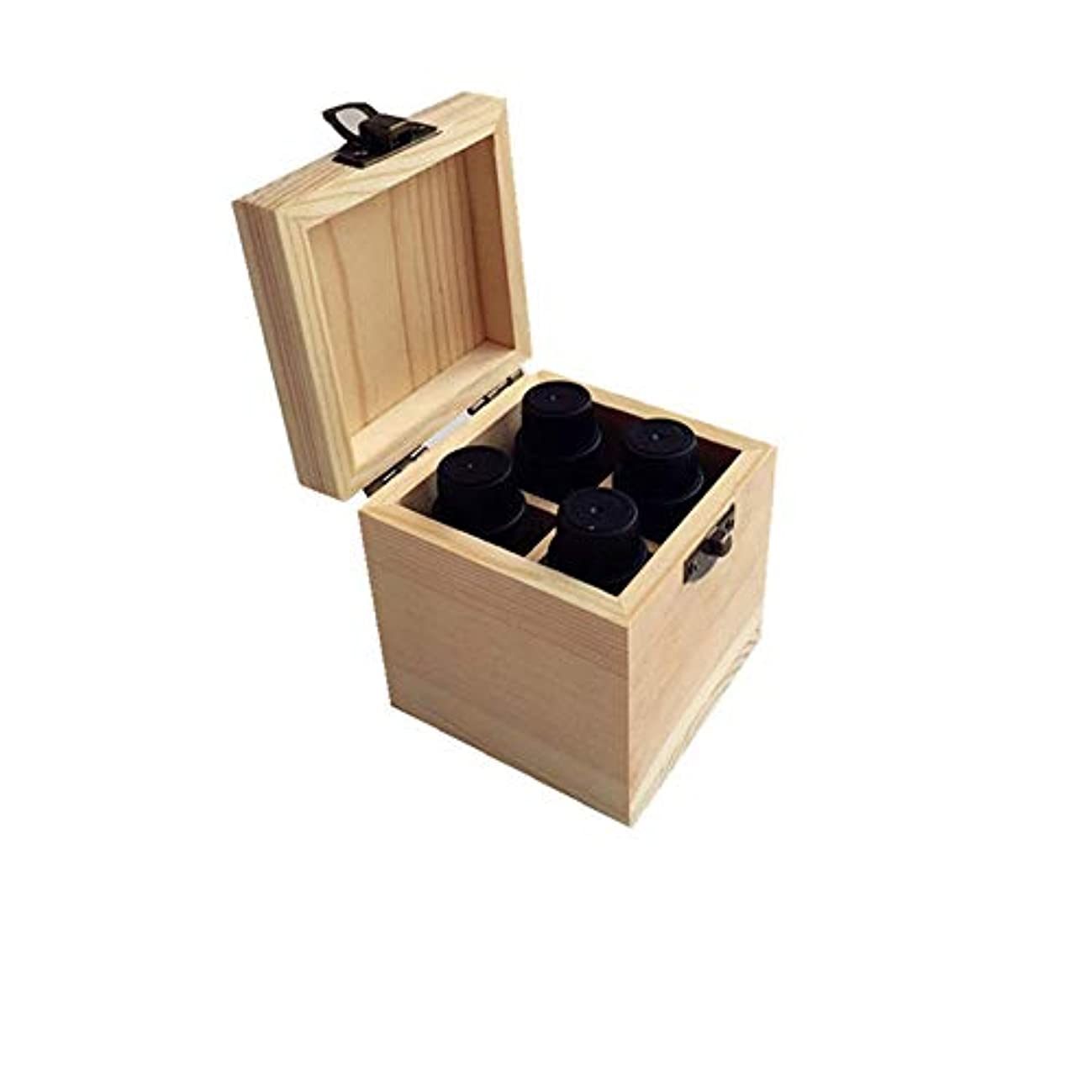 水ハチ水没4スロットの品質の木製エッセンシャルオイルストレージボックス アロマセラピー製品 (色 : Natural, サイズ : 8X8X9CM)