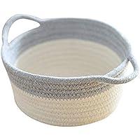収納バスケット 編み収納ボックス バスケット 幅20×奥行18cm 環境にやさしい 自然な 取っ手付き 収納カゴ どこでも収納ボックス雑貨の仕上げボックス