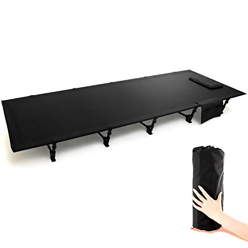 GLNG キャンプコット アウトドア ベッド 簡易コット 超軽量 折りたたみベッド 枕と収納バッグ付き キャンピングベッド コンパクト コット 組立簡単 良い通気性 日本語説明書付き ブラック