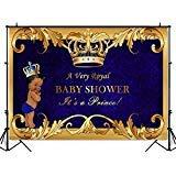 mehofoto Little Royal PrinceベビーシャワーバックドロップゴールドクラウンブラックBoy写真背景7x 5ftポリコットンロイヤルブルーの背景幕のベビーシャワーパーティー装飾