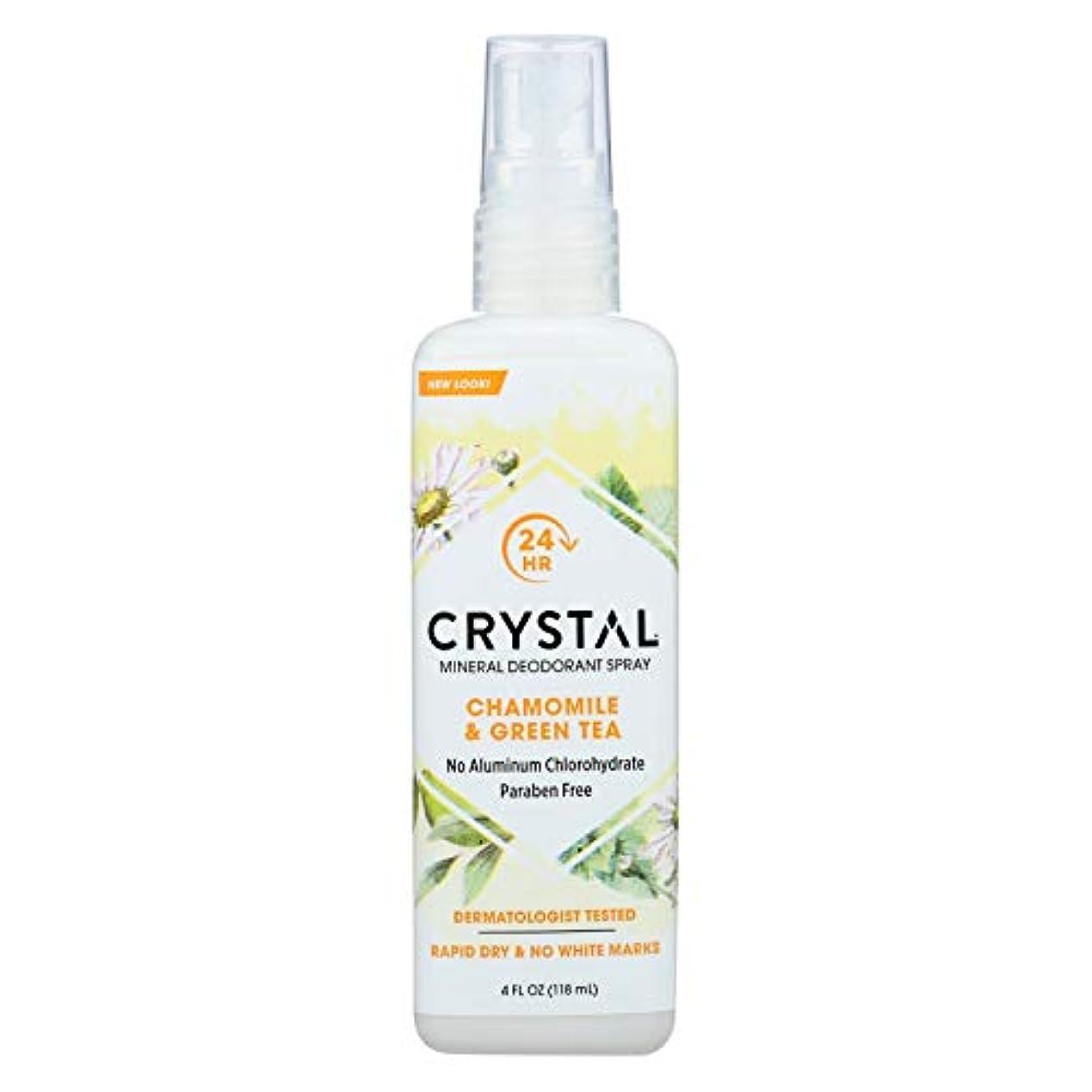 付き添い人フレッシュ式Crystal Body Deodorant - 水晶本質のフランスの運輸Chamomile及び緑茶によるミネラル防臭剤ボディスプレー - 4ポンド