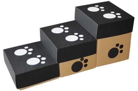 ペット用段ボール製階段 エコステップス-3段 3色 (黒)