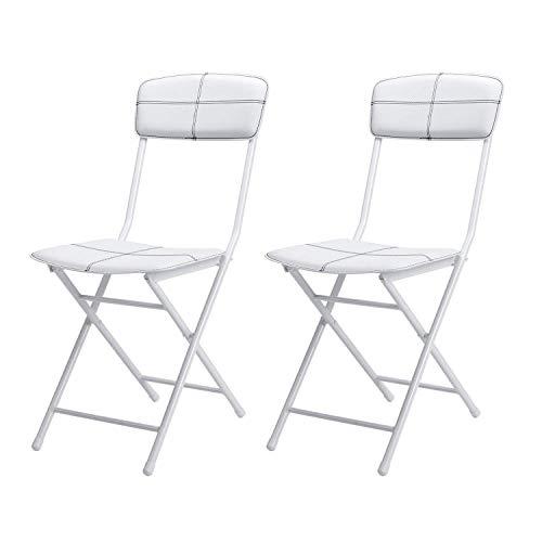 VECELO (べセロ) 折りたたみチェア/パイプ椅子 (背もたれ付き) ホワイト 2脚セット