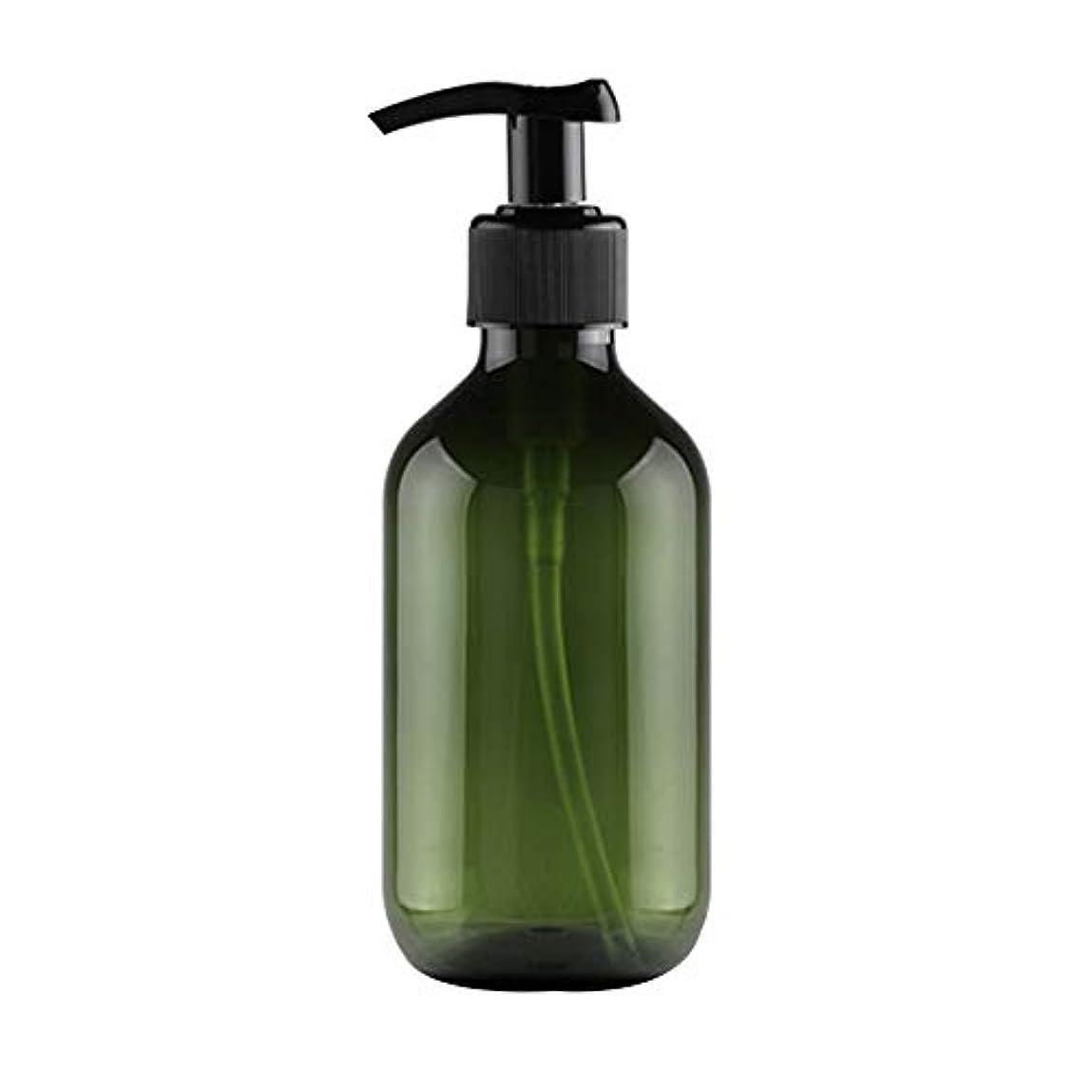 石油息を切らしてバッジVi.yo 小分けボトル ポンプボトル 押し式詰替用ボトル 携帯用 旅行 出張用 シャンプー 乳液など入り トラベルボトル 300ml ダークグリーン