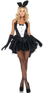 バニーガール 衣装 3点セット (衣装、兎耳、尻尾) デコルテ ボー付き コスチューム レディース 大きいサイズ