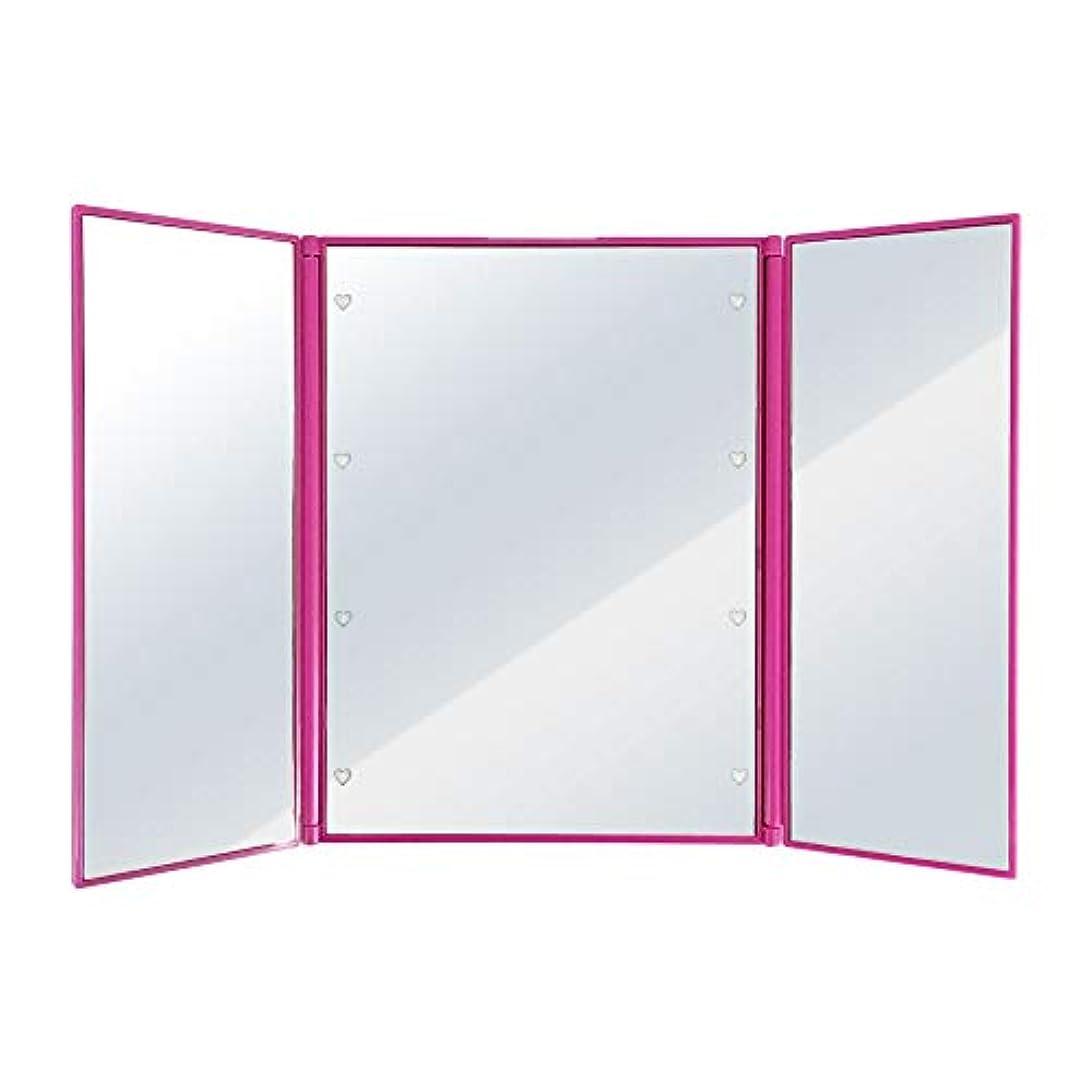 とげ納屋戦争SUGGEST 卓上ミラー LEDライト付 【選べるカラー】 化粧鏡 三面鏡 ビューティーミラー (ピンク)