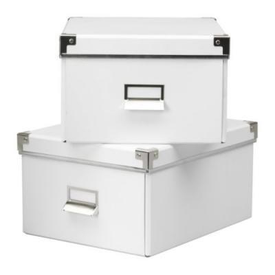 RoomClip商品情報 - KASSETT 書類用ボックス ふた付き 2ピース / ホワイト[イケア]IKEA