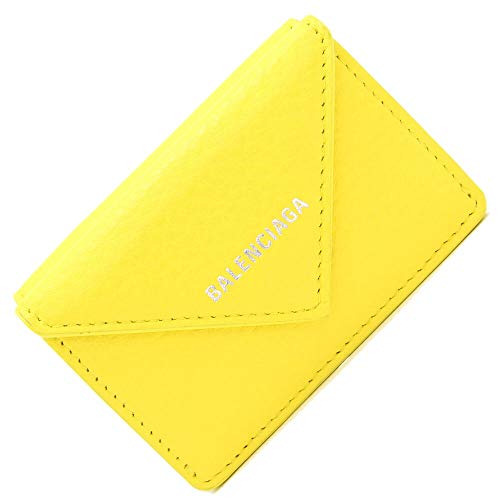 BALENCIAGA(バレンシアガ) 三つ折り財布 ペーパー ミニウォレット 391446 イエロー レザー 中古 黄色 ロゴ入り コンパクトウォレット BALENCIAGA [並行輸入品]