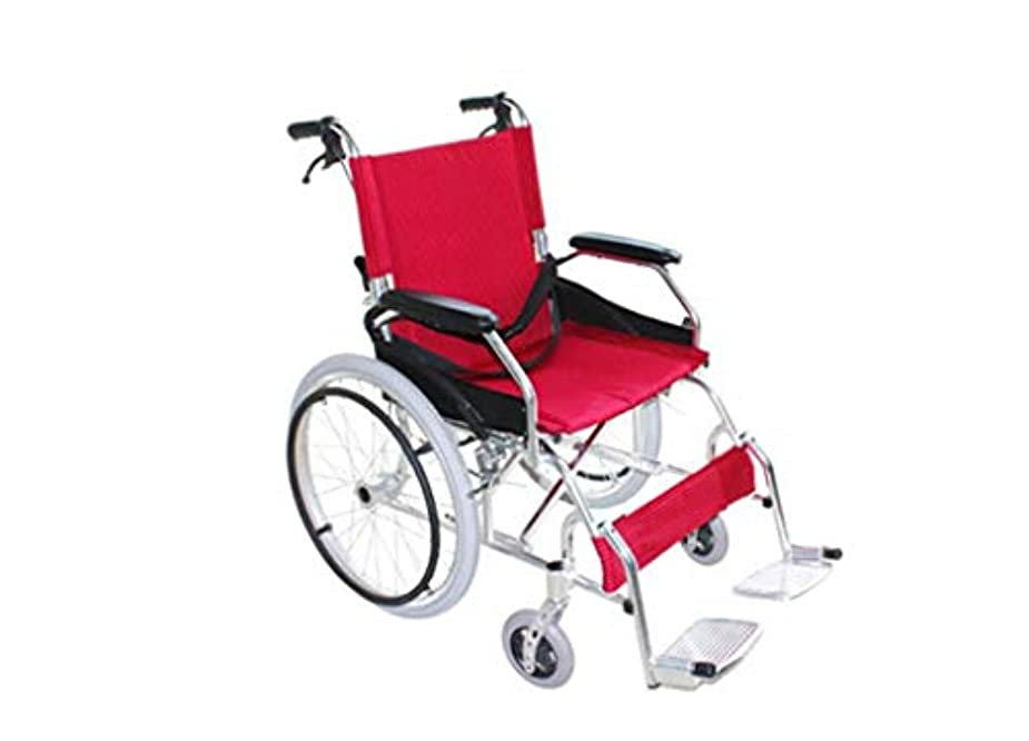 事実フォーラムリラックスした車椅子用トロリー、折り畳み式、手動操作プッシュ式ウォーキングギア、成人および身体障害者用のアルミニウム製トラベルスクーター車椅子に適しています (Color : A)