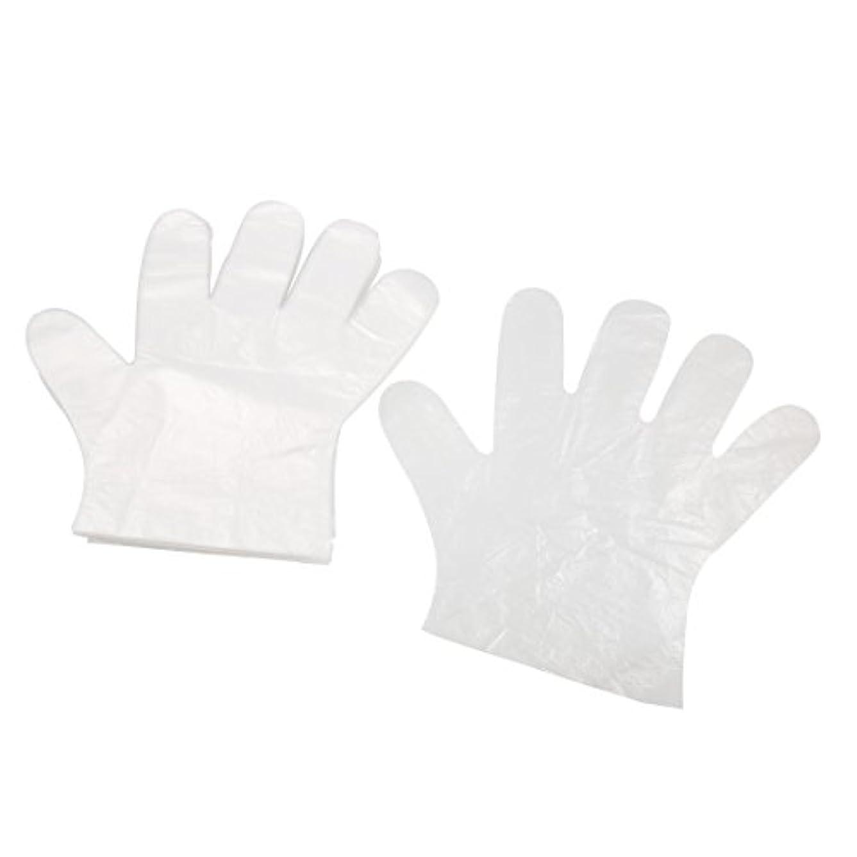 学期ダウン規範uxcell ポリエチレングローブ PE手袋 PE プラスチック製 クリア ホワイト 屋外バーベキュー用 絵画の助手 50ペア入り
