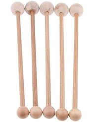 D DOLITY 木製 マッサージハンマー 健康 木製 ストレス解消 疲労緩和 肩たたき棒 ツボ押し 手持ち 5個