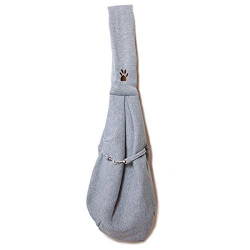 キャリーバッグ 抱っこ紐 スリング バッグ 小型犬用 スウェット&水玉模様 ペット斜め掛けかばん グレー