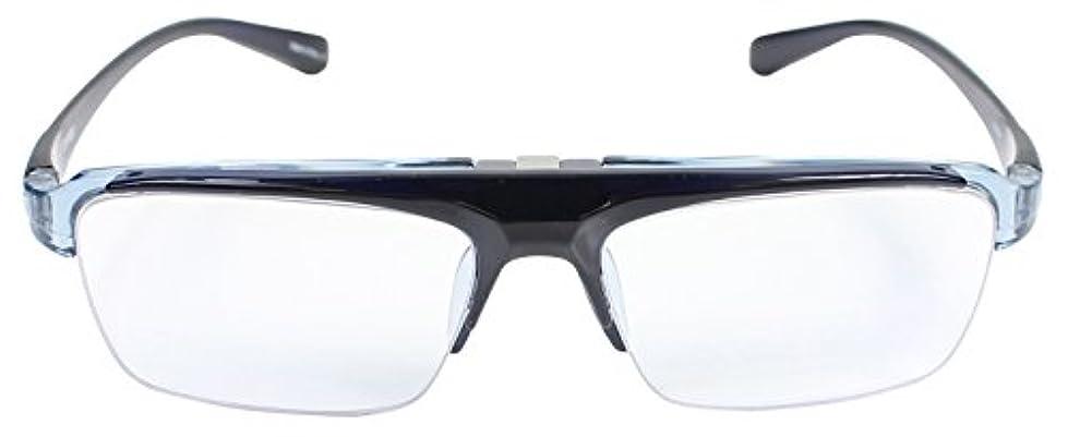 快適縞模様の恩赦パール 跳ね上げ 老眼鏡 リーディンググラス ブルーライトカット CSTADO スクエア ブルー +2.0 度数 LT-P301-3CBU +2.0 男性用