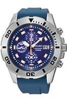 時計 セイコー Seiko Blue Dial Chronograph Blue Rubber Mens Watch SNDE03 [並行輸入品]