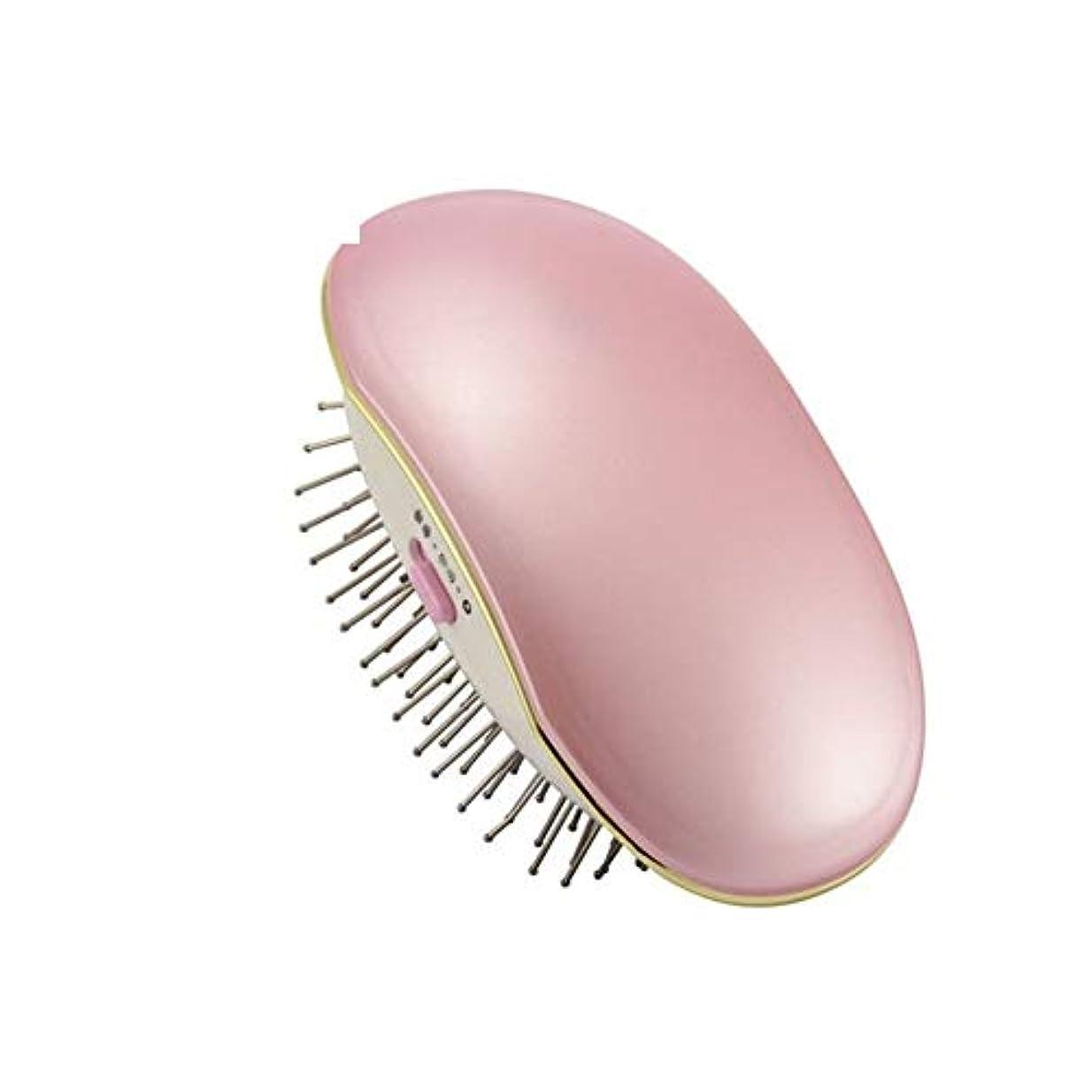 コントラスト論理的に原油Lizhenhua ポータブル電気イオンブラシ櫛イオン完璧な矯正スタイラーアイロンブラシケア矯正電気アイロンブラシ (Color : Pink)