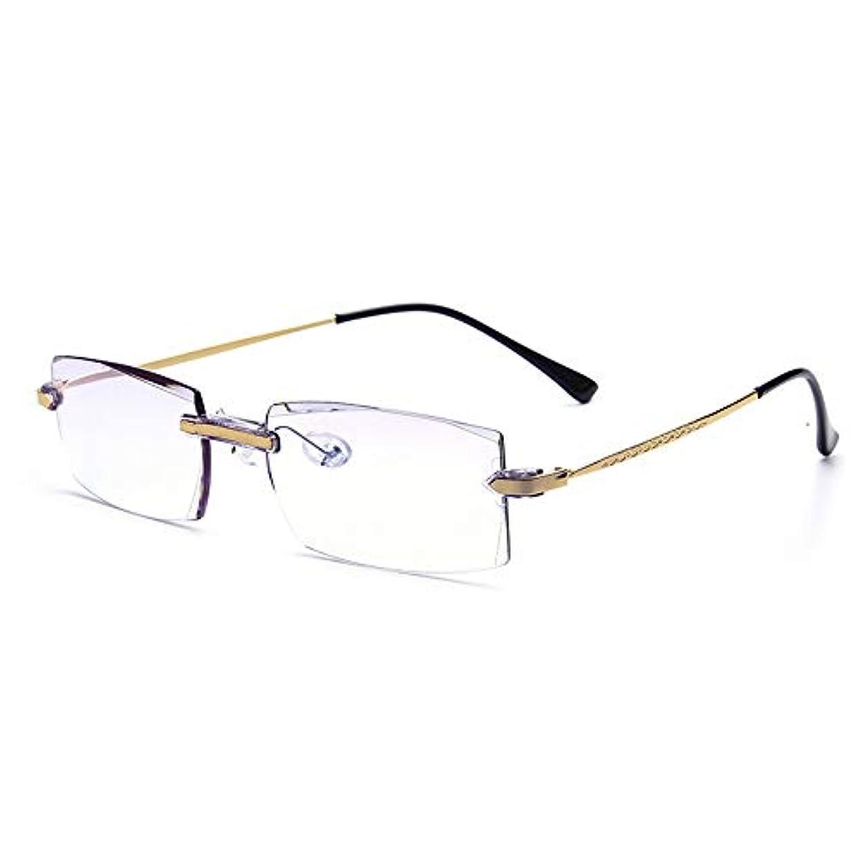 ファッションフレームレス老眼鏡抗放射線抗青色光抗疲労,+3.0