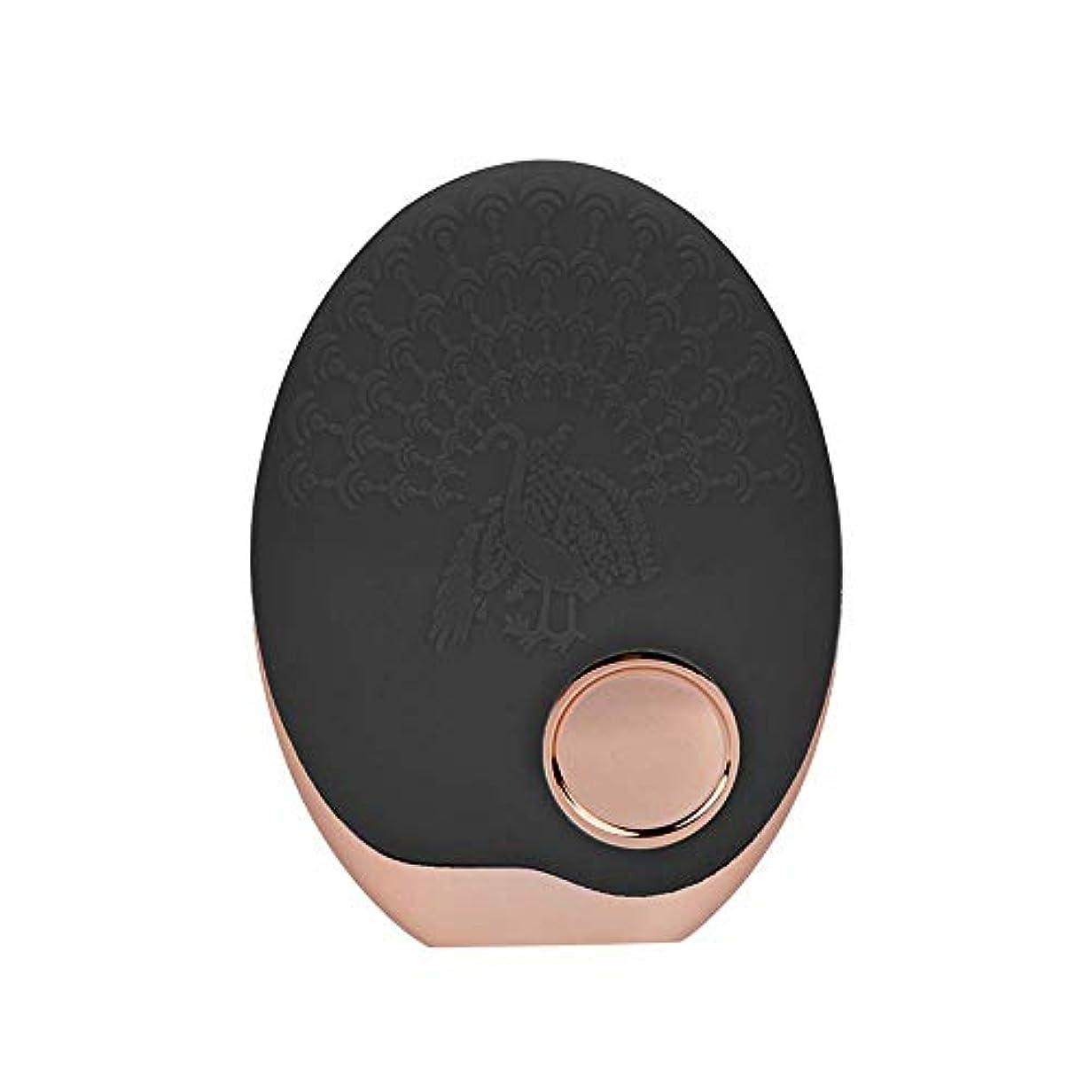 玉批判的にリード光子活性化クレンジング器具 顔の清潔になるブラシ、3色LEDの光子ライトが付いている超音波無線充満表面剥離のブラシのシリコーンの防水マッサージャー (黒)