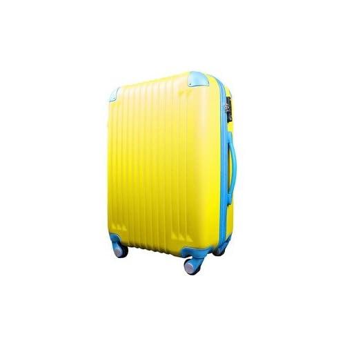 スーツケース/キャリーバッグ 【Mサイズ/中型4~6日】 TSA搭載 軽量 ファスナー イエロー(黄)×ブルー(青)