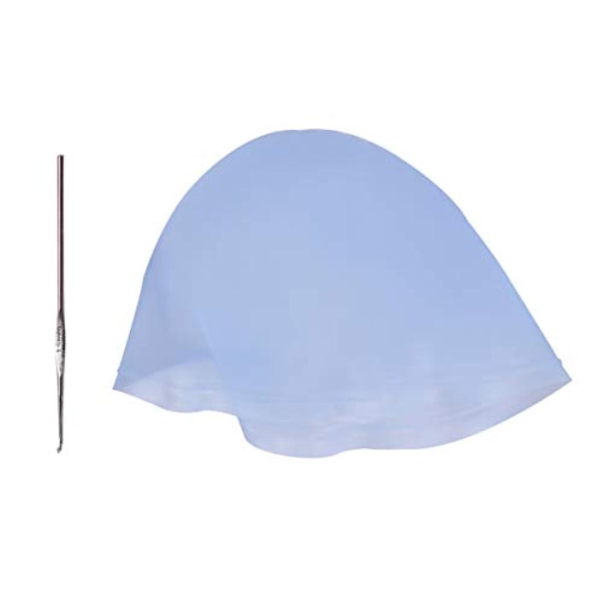 フィッティング無心ベンチャーMinkissy ヘアカラーキャップフック付きシリコーン着色キャップ再利用可能なハイライトキャップ大人女性男性ヘアサロン理髪ツール3セットを染色(スカイブルー)