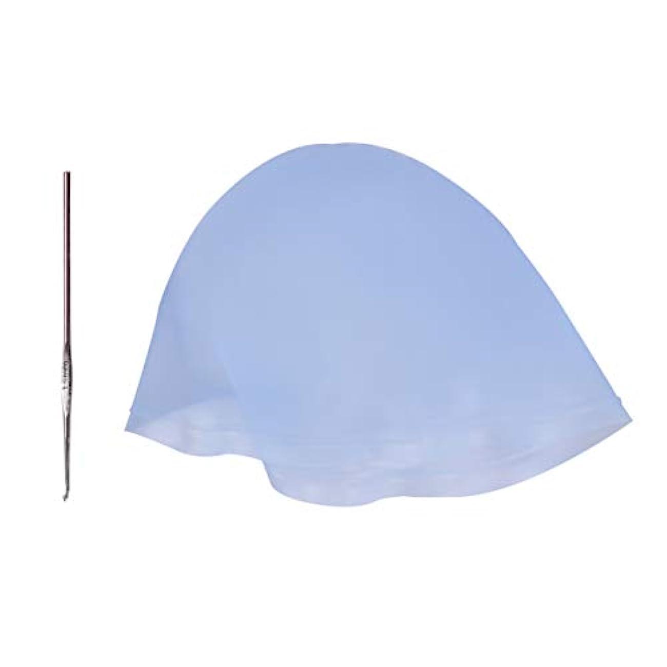 米ドル生息地拍手するMinkissy ヘアカラーキャップフック付きシリコーン着色キャップ再利用可能なハイライトキャップ大人女性男性ヘアサロン理髪ツール3セットを染色(スカイブルー)