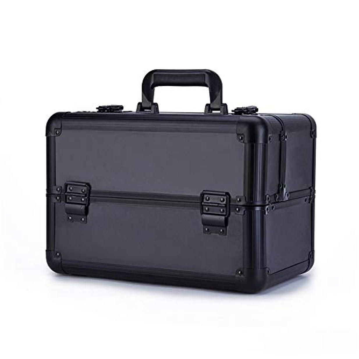 相関する疲れたも化粧オーガナイザーバッグ 大容量倉庫美容化粧箱ネイルジュエリー化粧品オーガナイザーバニティケース 化粧品ケース (色 : ブラック)