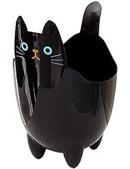 オフィスの浴室の居間のための創造的な収納収納バケツかわいい猫のゴミ箱 (Color : Black)