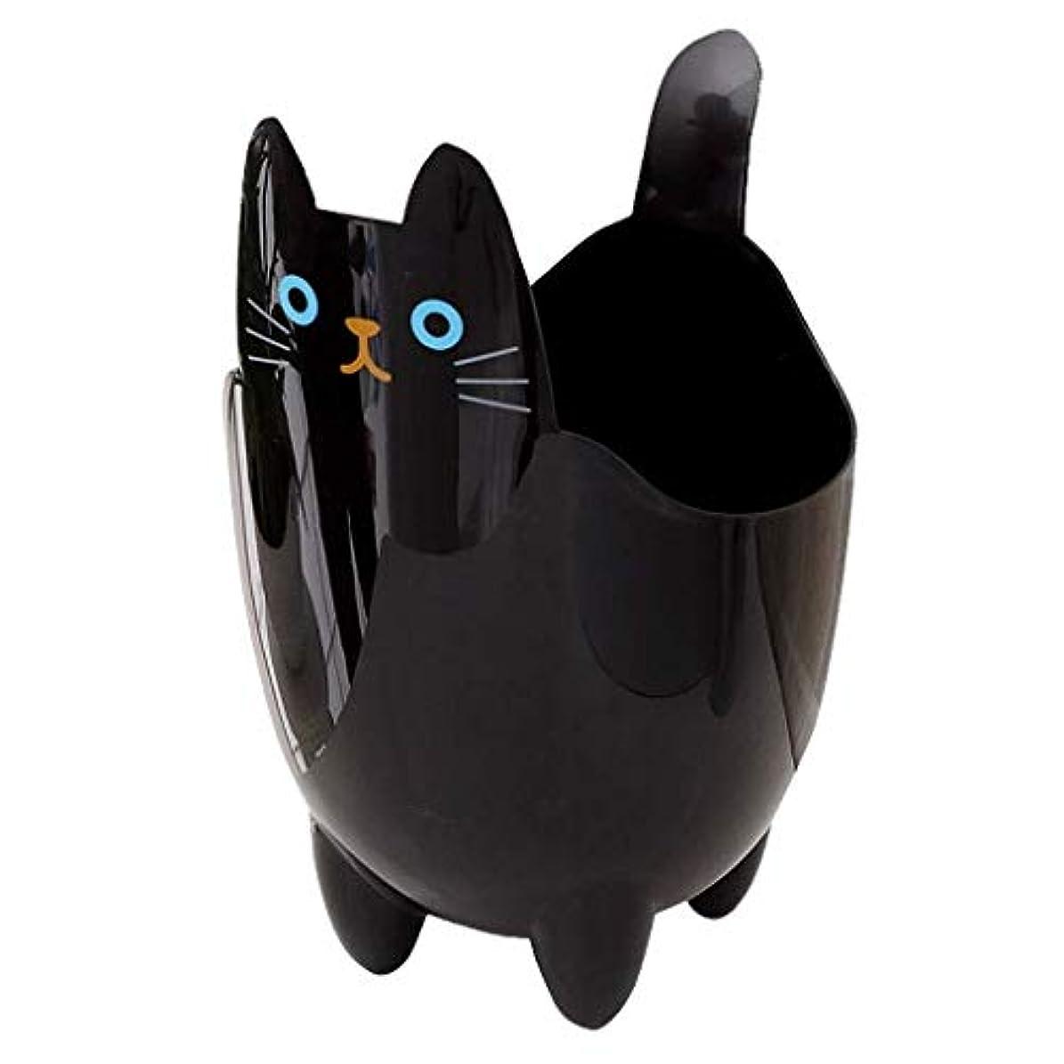かき混ぜる水族館デコードするオフィスの浴室の居間のための創造的な収納収納バケツかわいい猫のゴミ箱 (Color : Black)