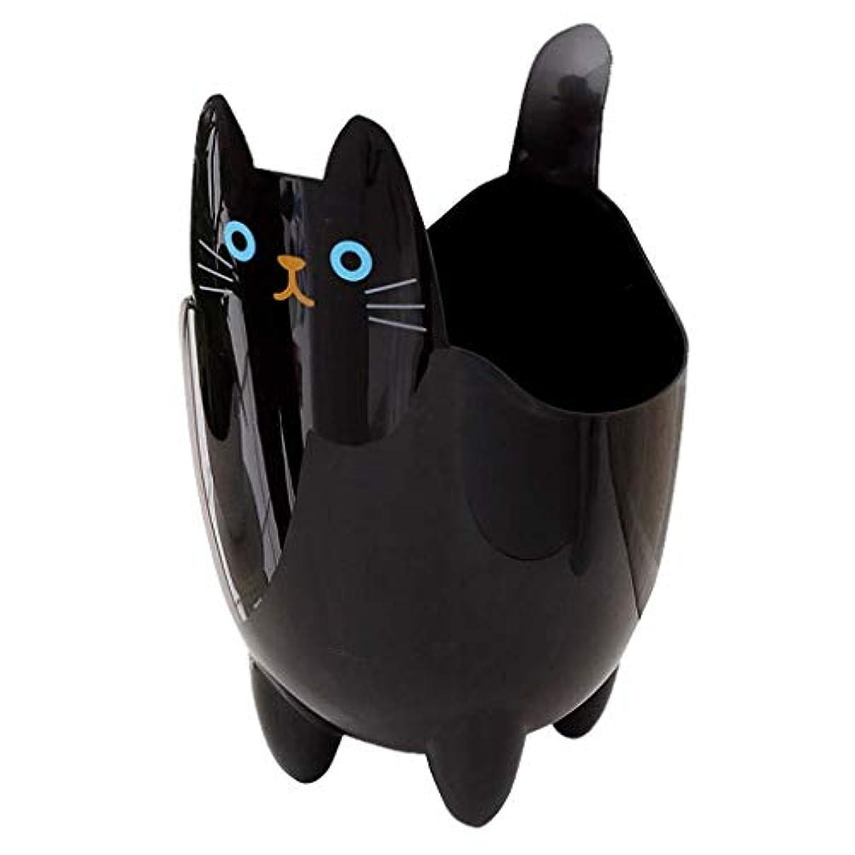 適切に精神リファインオフィスの浴室の居間のための創造的な収納収納バケツかわいい猫のゴミ箱 (Color : Black)