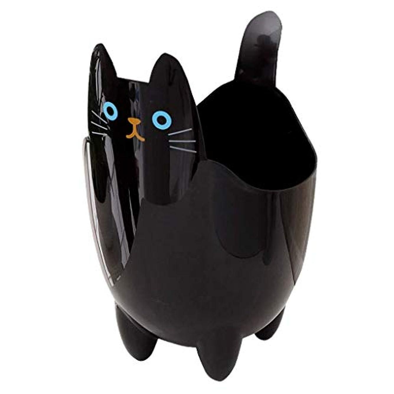 方法中にノベルティオフィスの浴室の居間のための創造的な収納収納バケツかわいい猫のゴミ箱 (Color : Black)