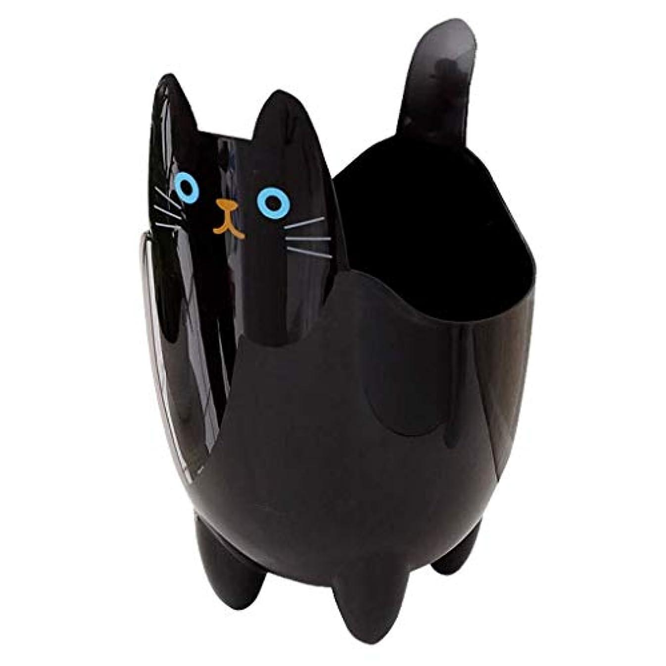 シリンダーダッシュ取り替えるオフィスの浴室の居間のための創造的な収納収納バケツかわいい猫のゴミ箱 (Color : Black)
