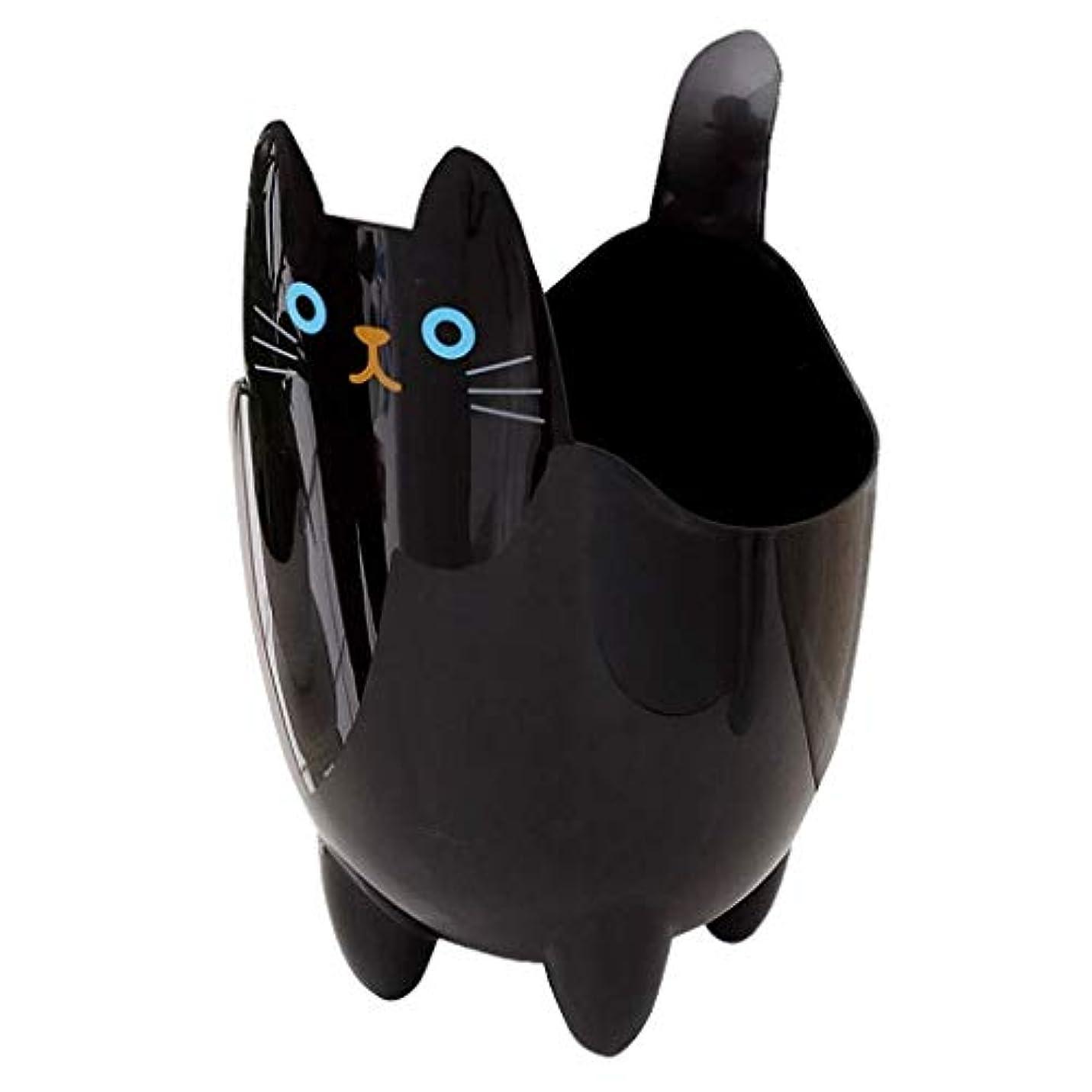 不適祝うアナリストオフィスの浴室の居間のための創造的な収納収納バケツかわいい猫のゴミ箱 (Color : Black)