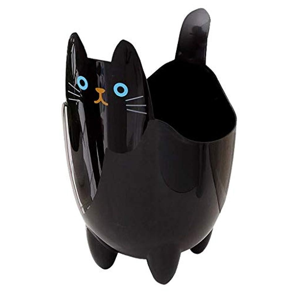 限界誘う癒すオフィスの浴室の居間のための創造的な収納収納バケツかわいい猫のゴミ箱 (Color : Black)