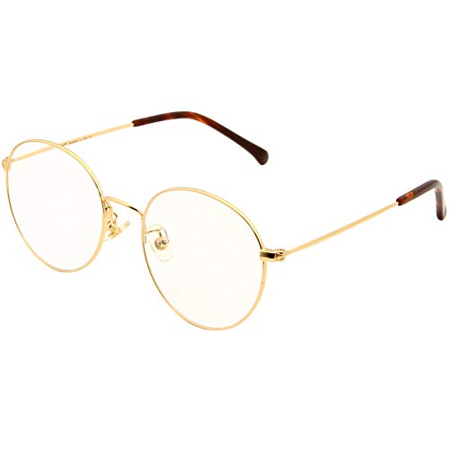 Cyxus(シクサズ)ブルーライトカットメガネ PCメガネ 視力保護 輻射防止 肌に優しい ファッション ステンレス 透明レンズ 復古円形フレーム 男女兼用 (金色)