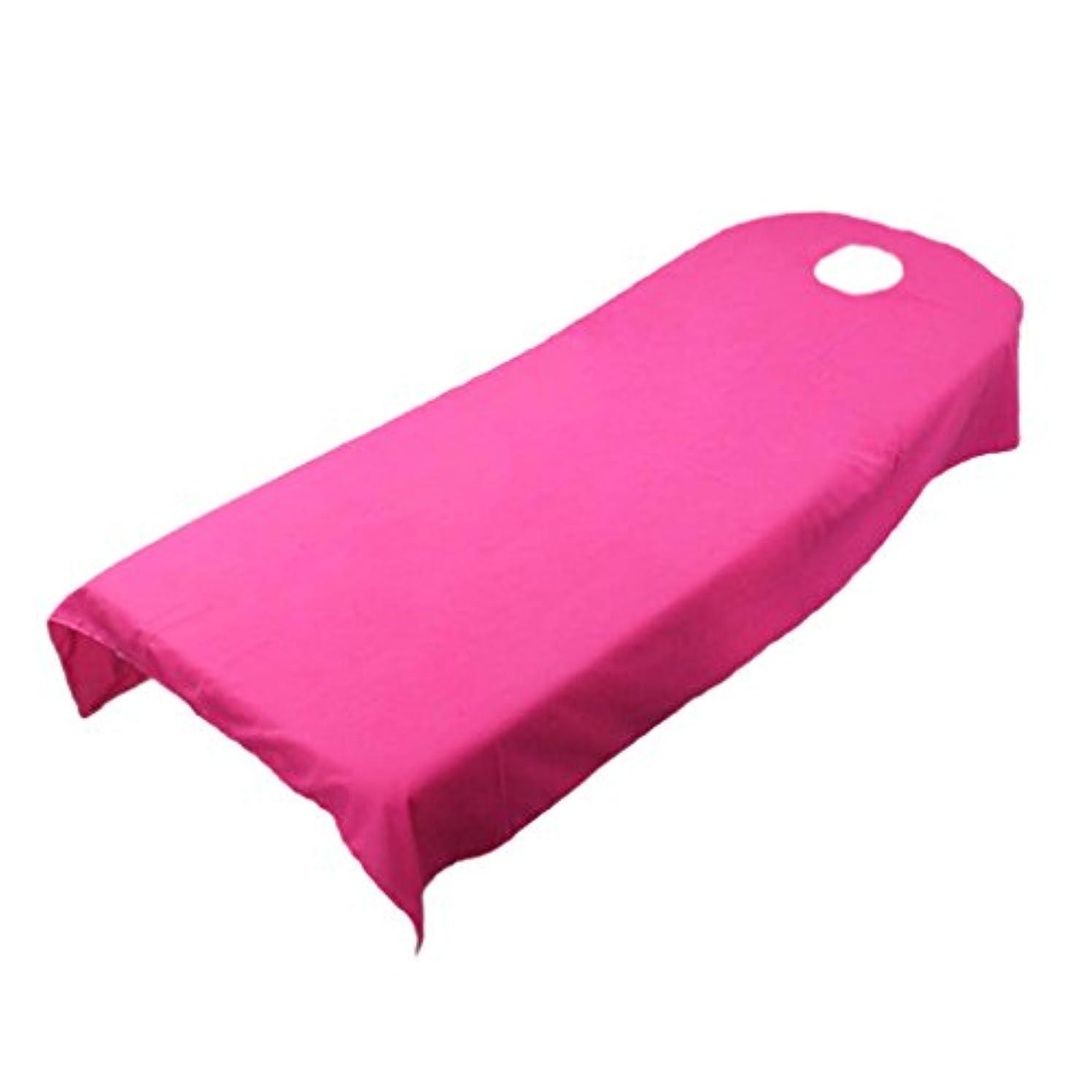 エネルギー歌手初期柔らかい ベッドカバー シート ホール付き 美容/マッサージ/スパ専用 全9色可選 - ホトピンク