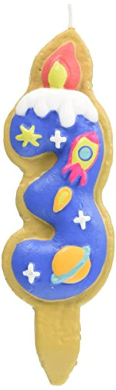 放送中級ピラミッドクッキーナンバーキャンドル 3番 ロケット ケーキ用 56280030