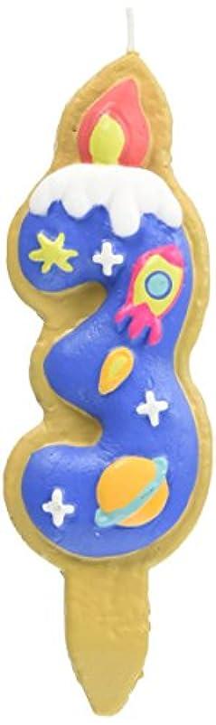 スペース支援アクセスできないクッキーナンバーキャンドル 3番 ロケット ケーキ用 56280030