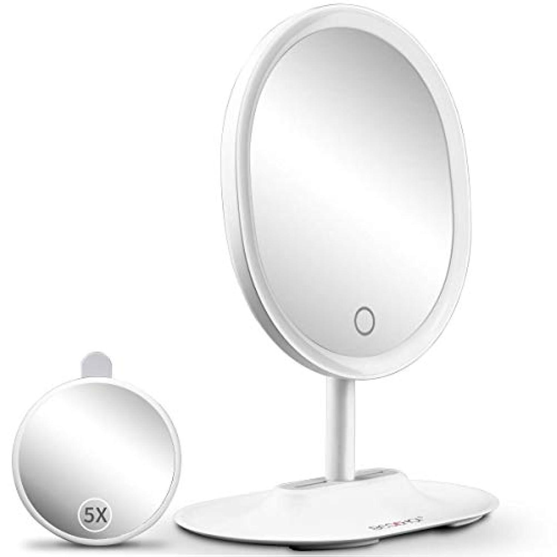 器用ブレス脳BESCHOI 化粧鏡 化粧ミラー 女優ミラー 5倍拡大鏡 卓上ミラー LEDミラー USB充電式 寒暖色調節可能 明るさ階調節可能 スタンドミラー メイク鏡 ライト120度回転 プレゼント