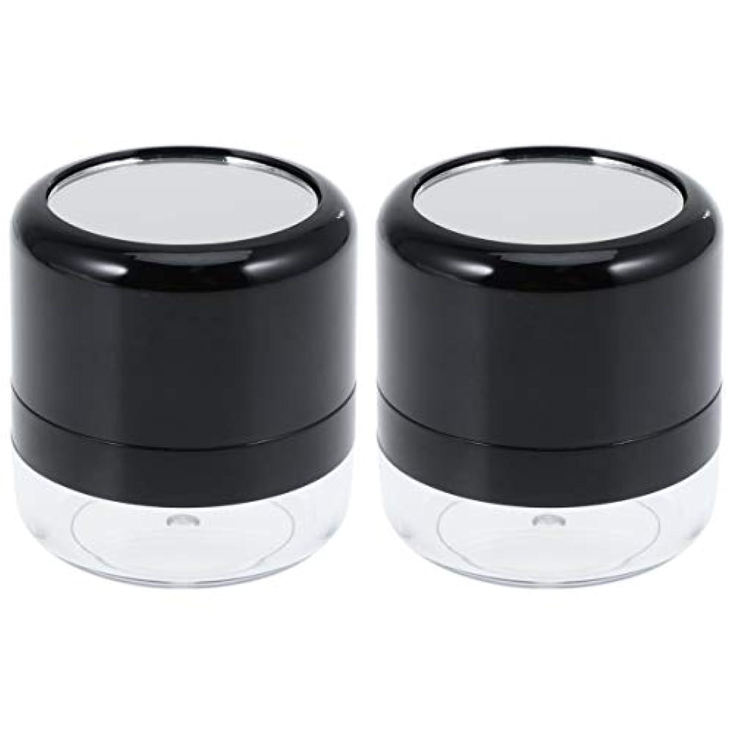 打ち負かす順応性のあるピッチFrcolor パウダーケース パウダー容器 ミニケース 15G ポンポンジャー 携帯用 手作り 詰替え容器 小分けボトル パフ?ミラー付き 2個セット(ブラックフタ)