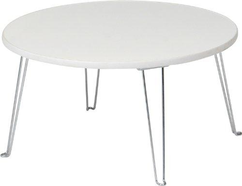 不二貿易 カラーテーブル ラウンド 幅60×奥行60×高さ31cm ホワイト 89328