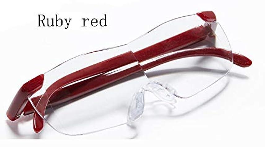 状態三角で出来ているメガネ型虫眼鏡、高齢者用携帯用読書虫眼鏡HDヘッドバンド、1.8倍速、宝石類の宝石類、ティースタンプ、身分証明書、偽造プリントなど (色 : Ruby red)